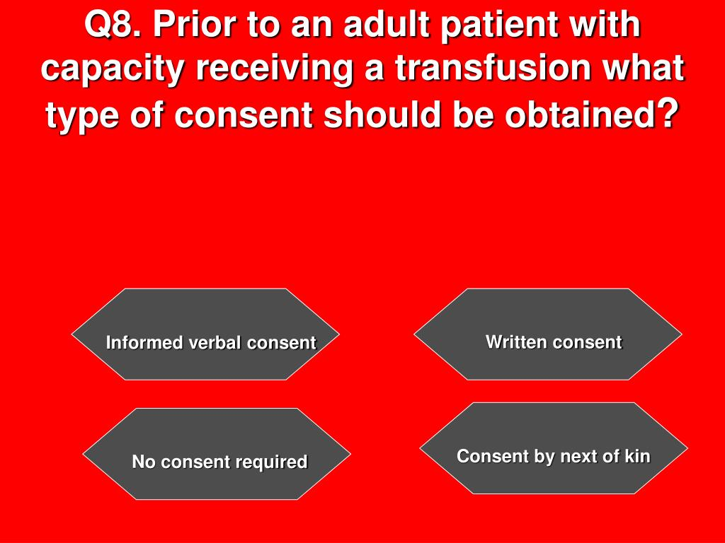 Q8. Prior to an adult patient with capacity receiving a transfusion what type of consent should be obtained
