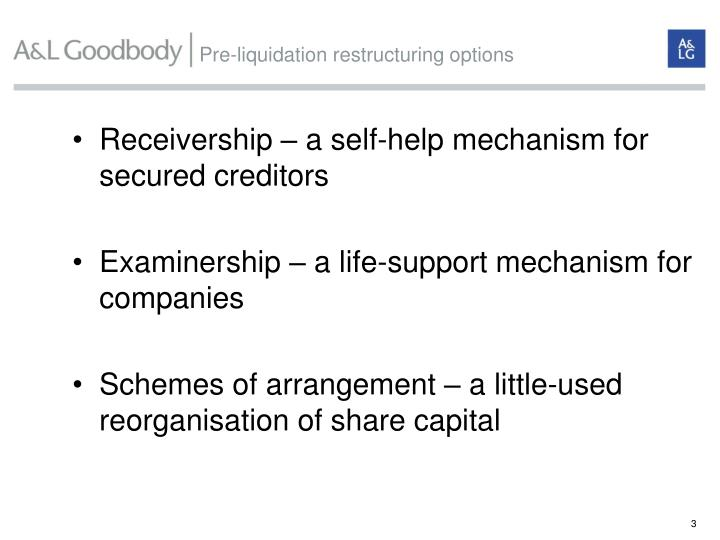 Pre liquidation restructuring options
