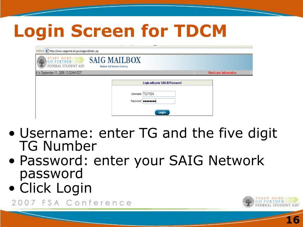 Login Screen for TDCM