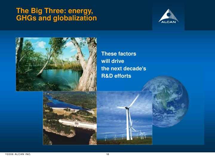 The Big Three: energy,
