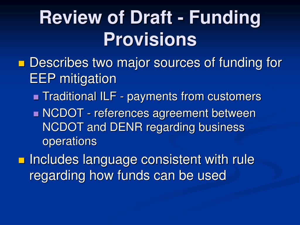 Review of Draft - Funding Provisions