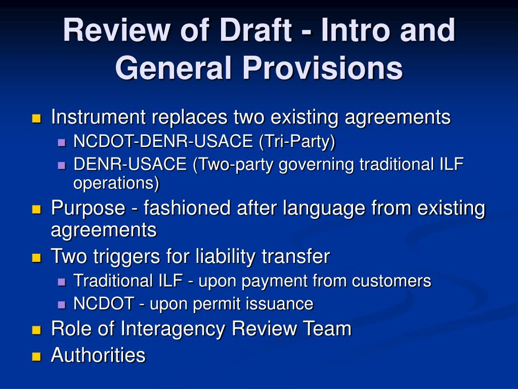 Review of Draft - Intro and General Provisions