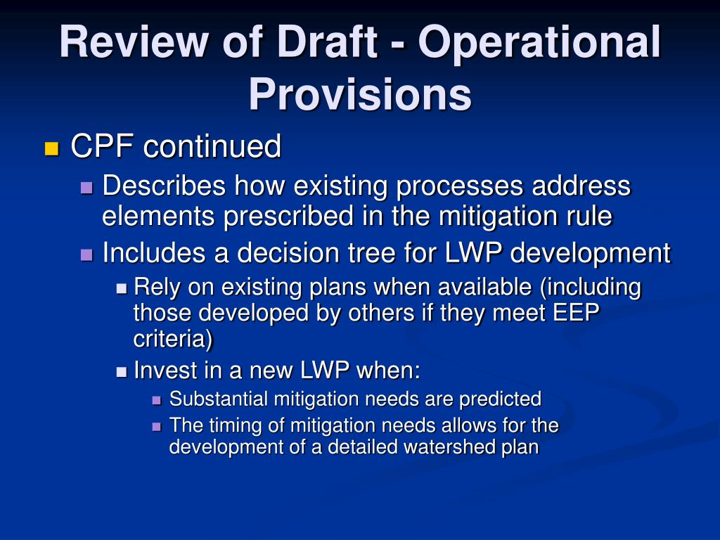 Review of Draft - Operational  Provisions