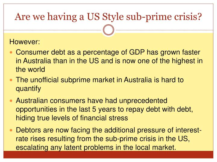 Are we having a US Style sub-prime crisis?