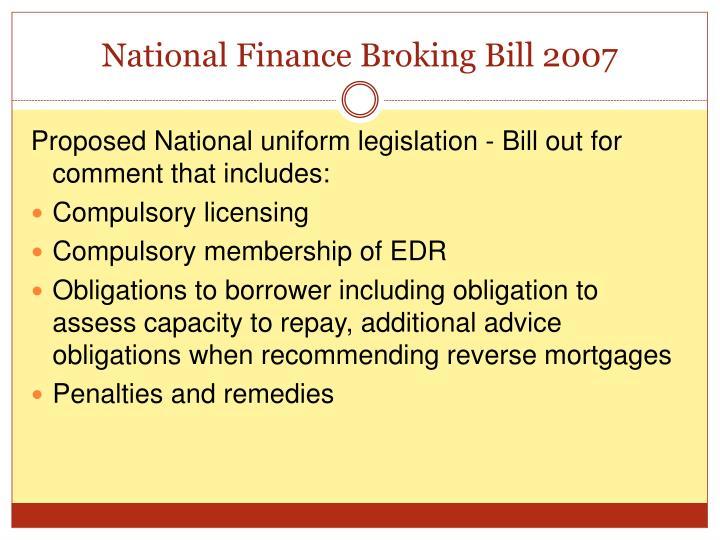 National Finance Broking Bill 2007
