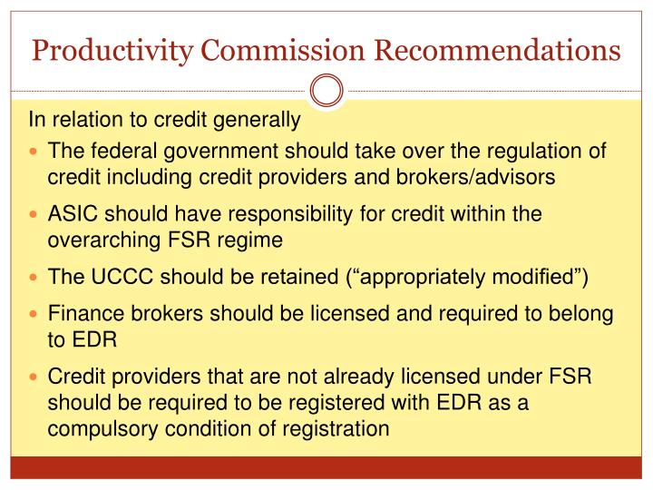 Productivity Commission Recommendations