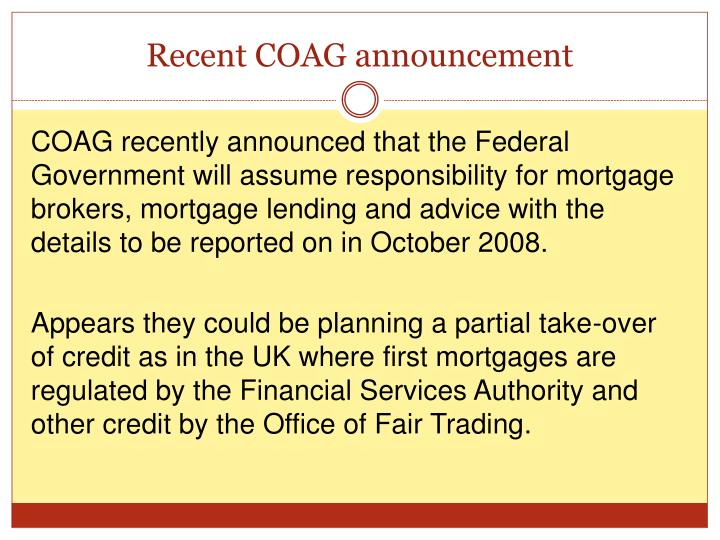 Recent COAG announcement
