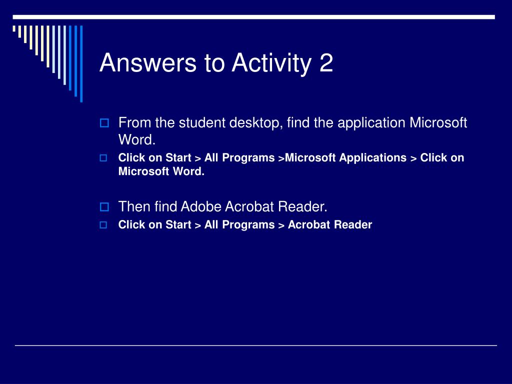 Answers to Activity 2