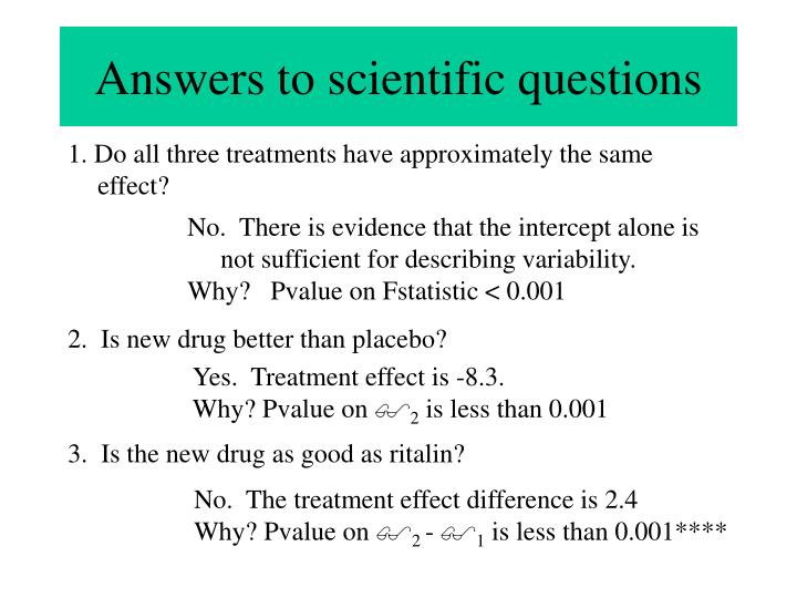 Answers to scientific questions