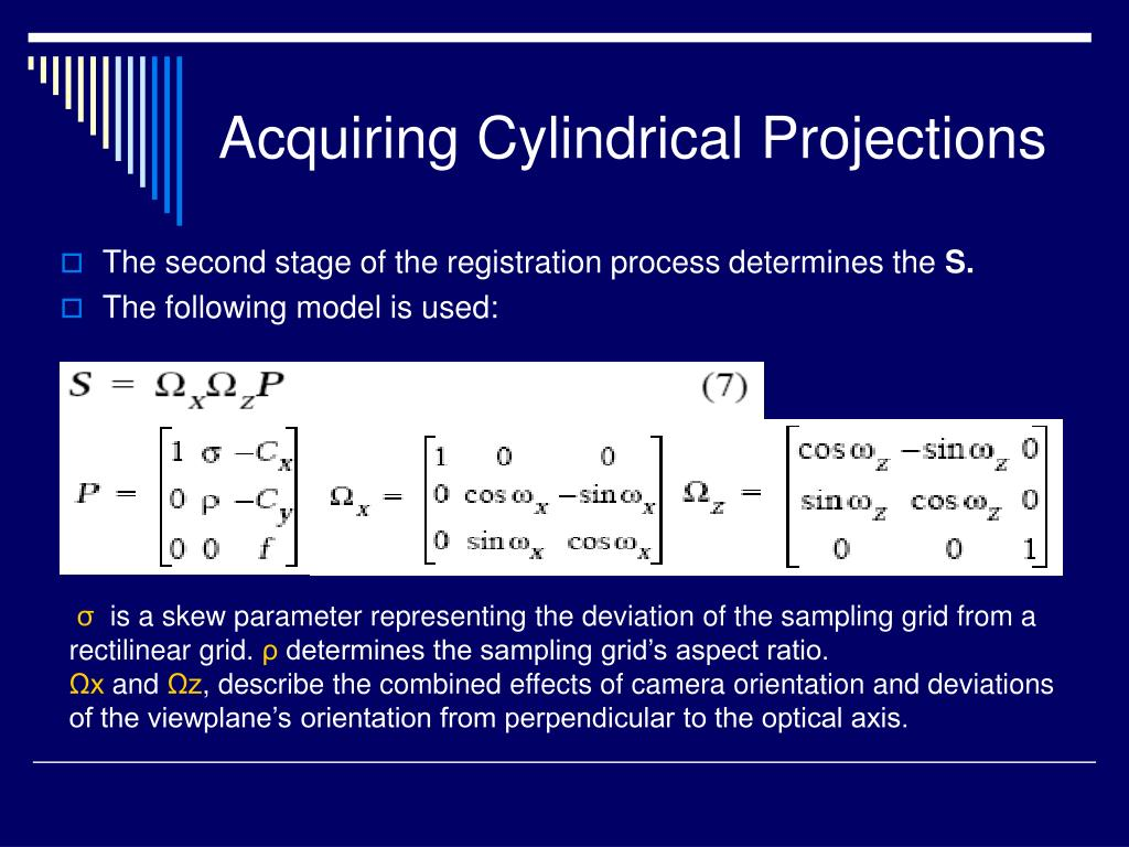 Acquiring Cylindrical Projections