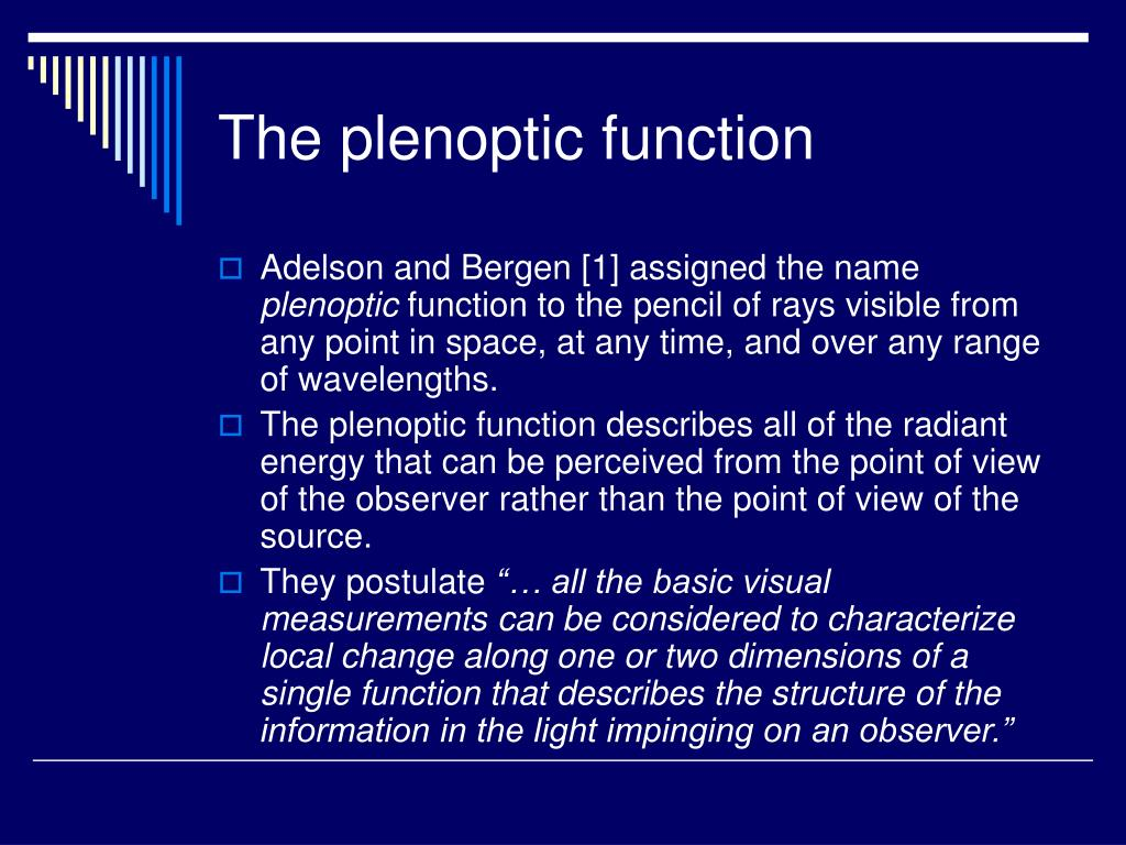 The plenoptic function