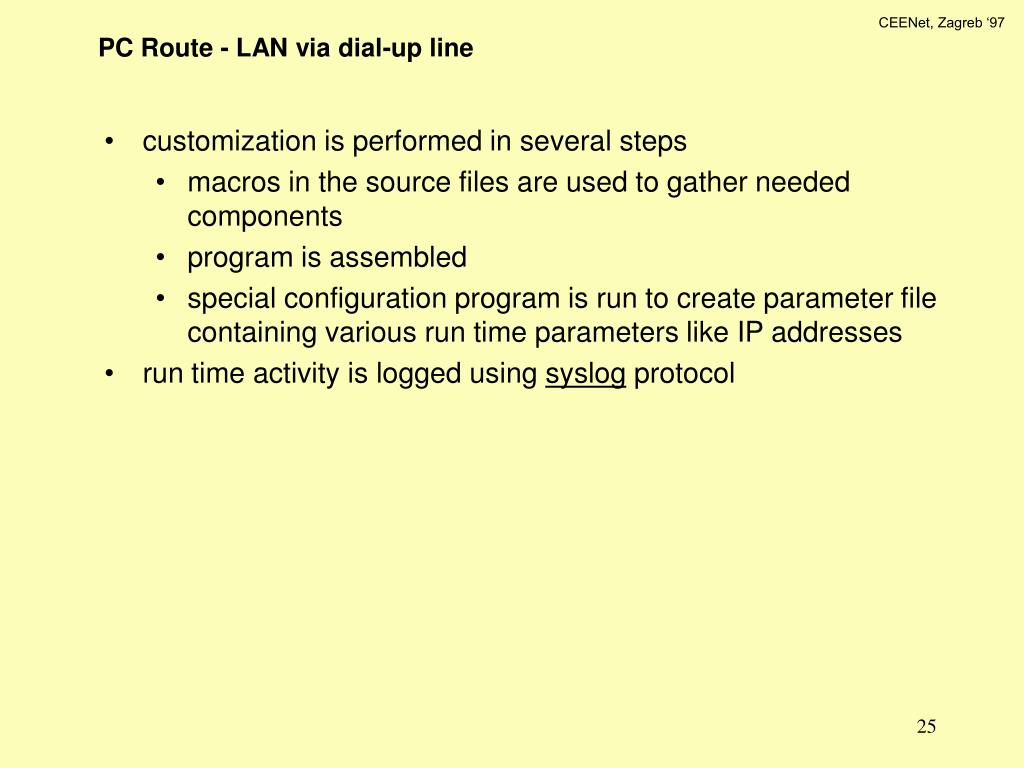 PC Route - LAN via dial-up line