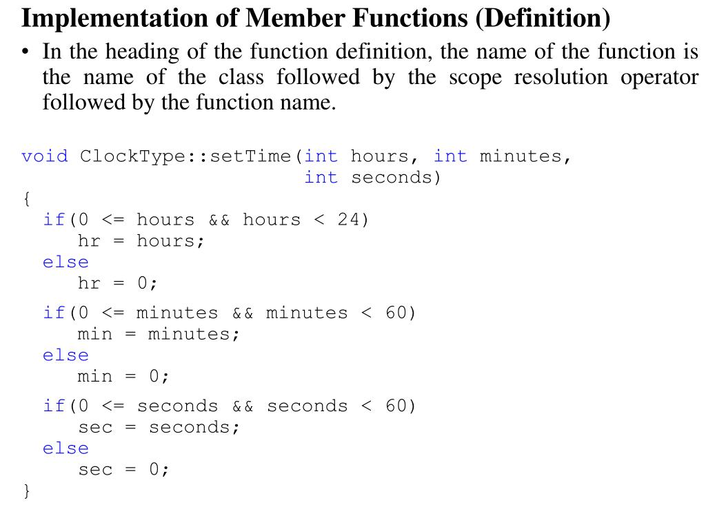 Implementation of Member Functions (Definition)