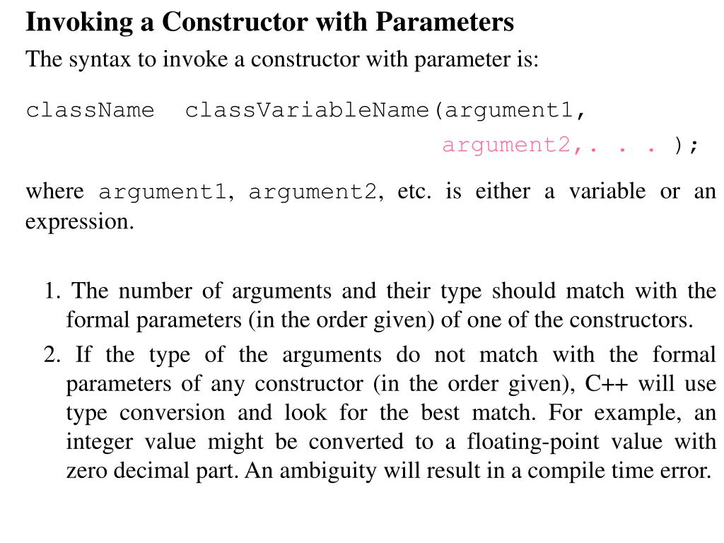 Invoking a Constructor with Parameters