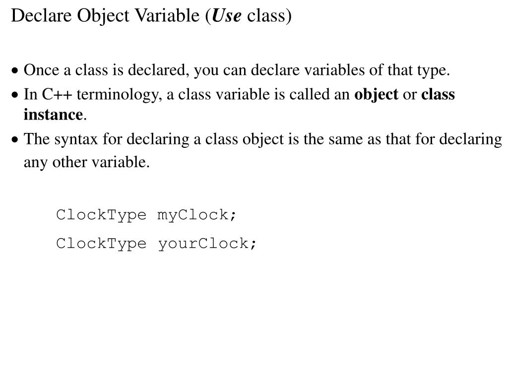 Declare Object Variable (