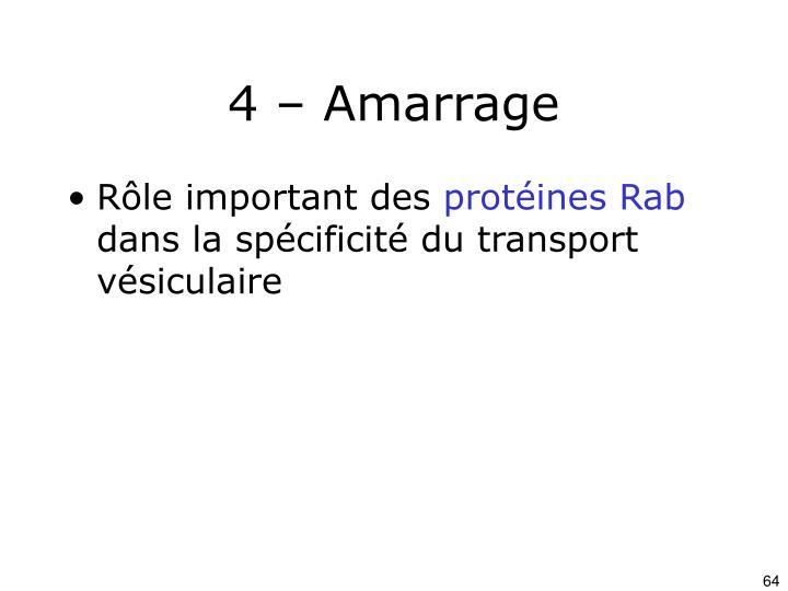 4 – Amarrage