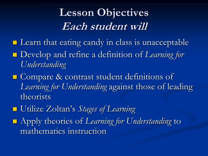 Lesson objectives each student will