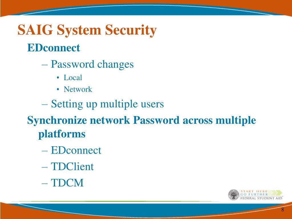 SAIG System Security