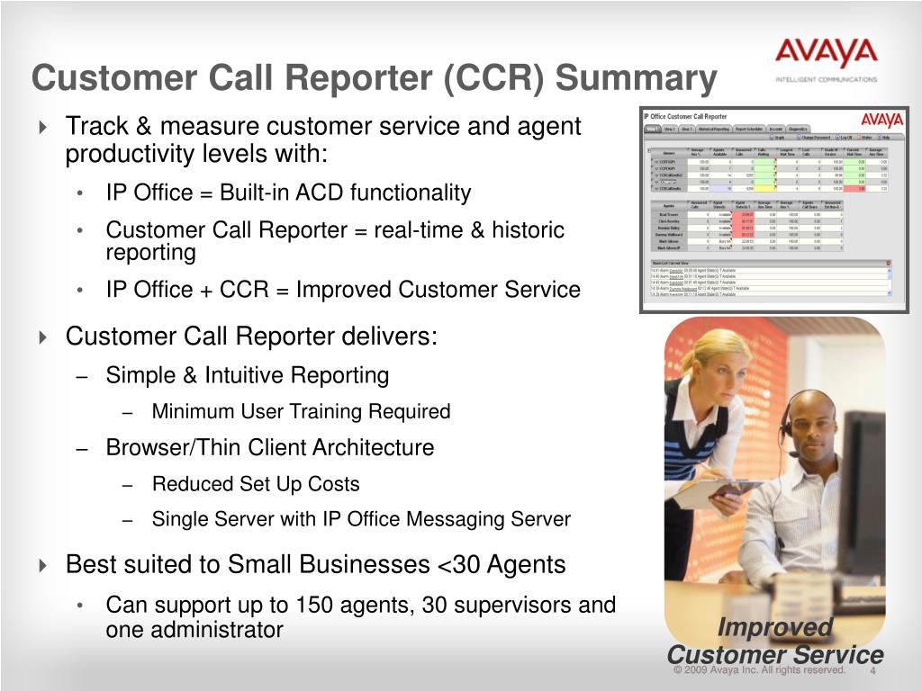 Customer Call Reporter (CCR) Summary