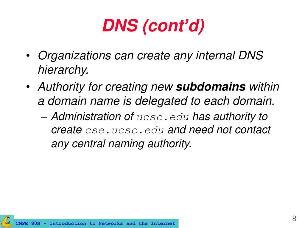DNS (cont'd)