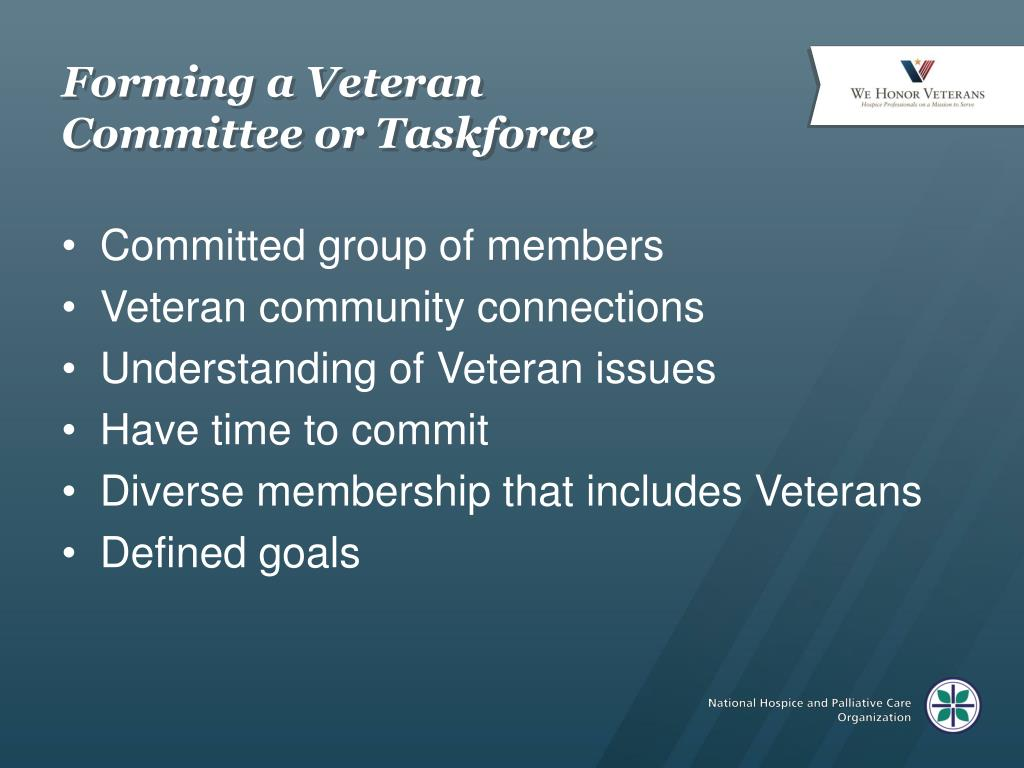 Forming a Veteran Committee or Taskforce