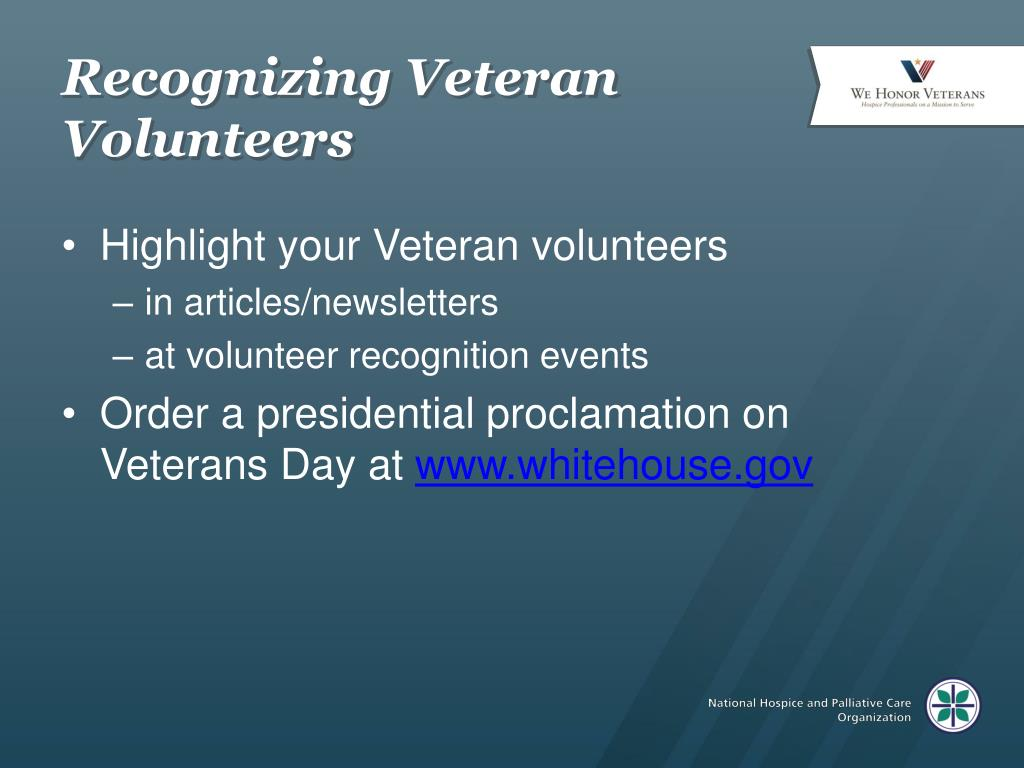 Recognizing Veteran Volunteers