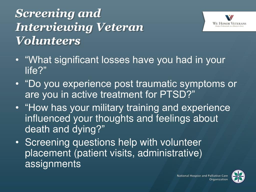 Screening and Interviewing Veteran Volunteers