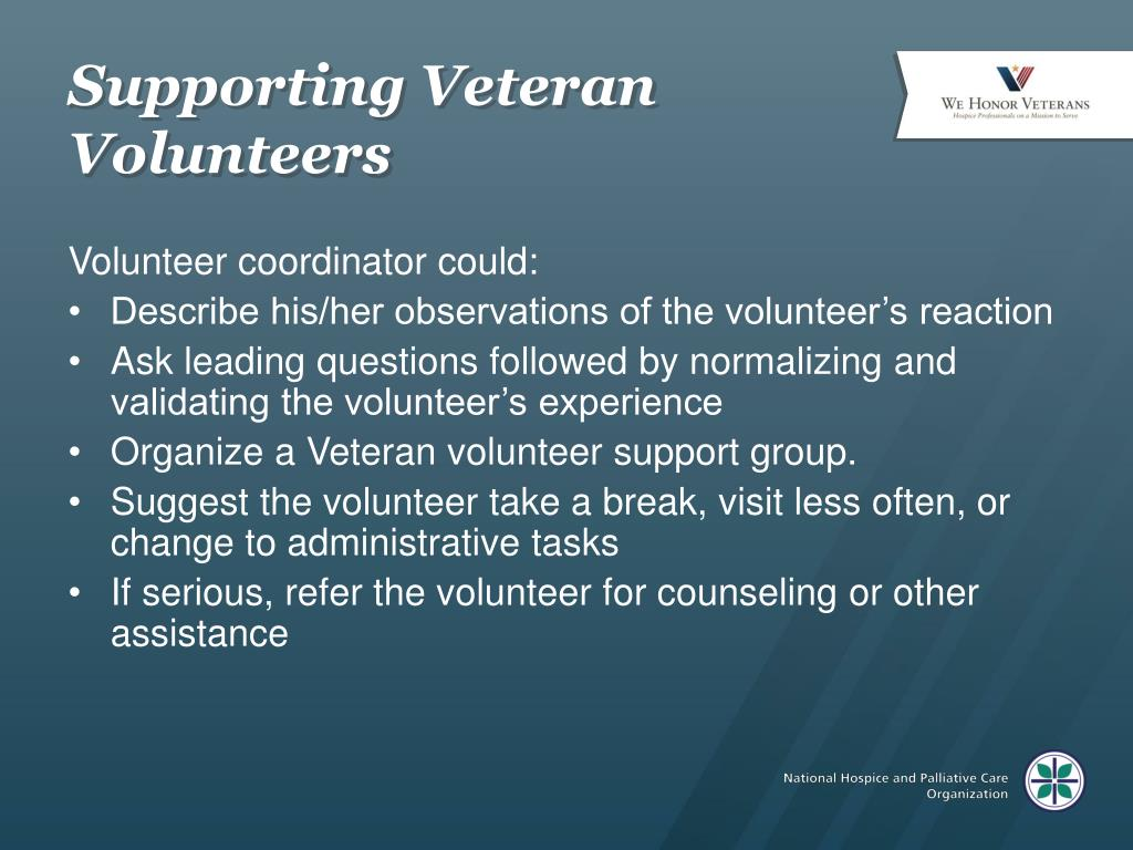 Supporting Veteran Volunteers
