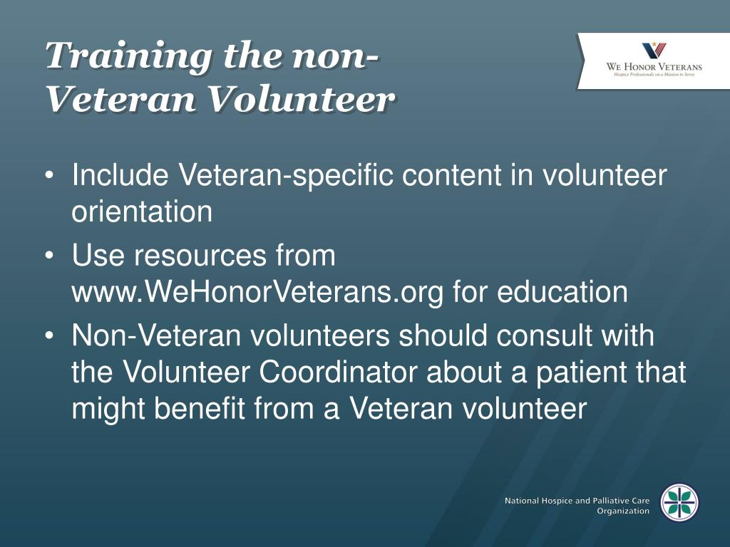 Training the non-Veteran Volunteer