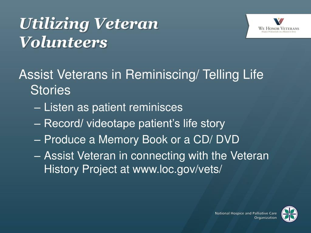 Utilizing Veteran Volunteers