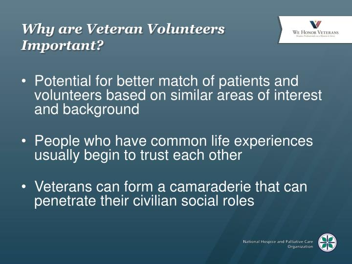 Why are veteran volunteers important
