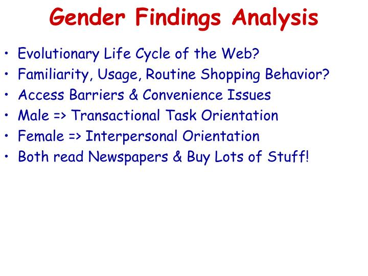Gender Findings Analysis