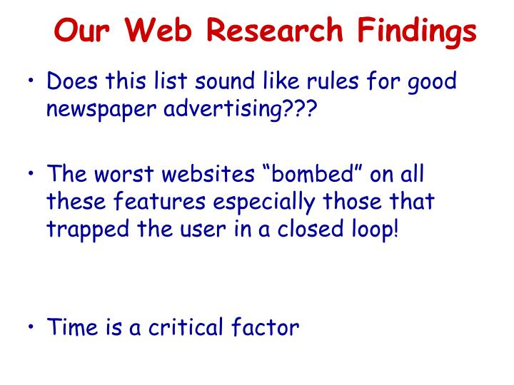 Our Web Research Findings