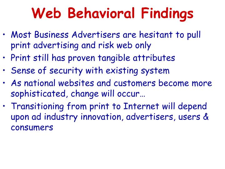 Web Behavioral Findings