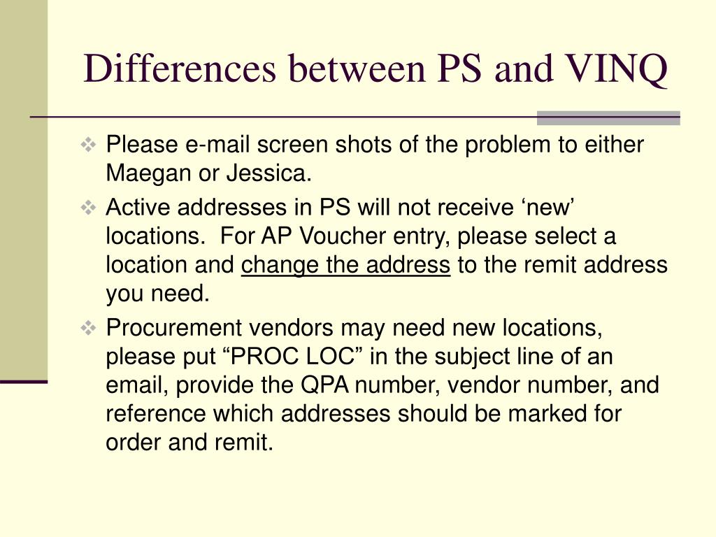 Differences between PS and VINQ