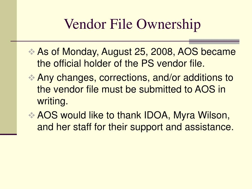 Vendor File Ownership