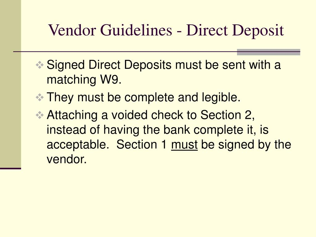 Vendor Guidelines - Direct Deposit