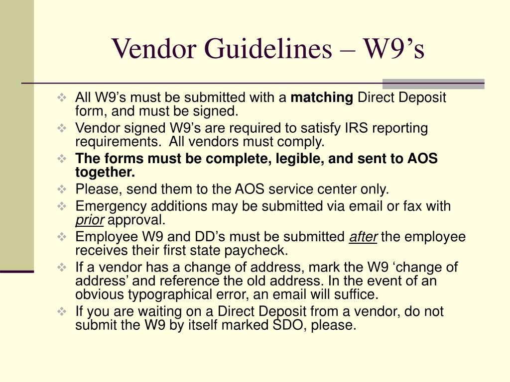 Vendor Guidelines – W9's