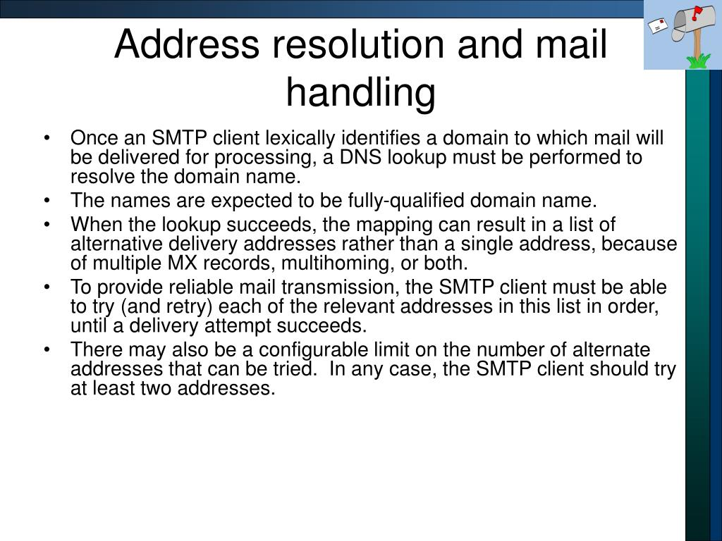 Address resolution and mail handling