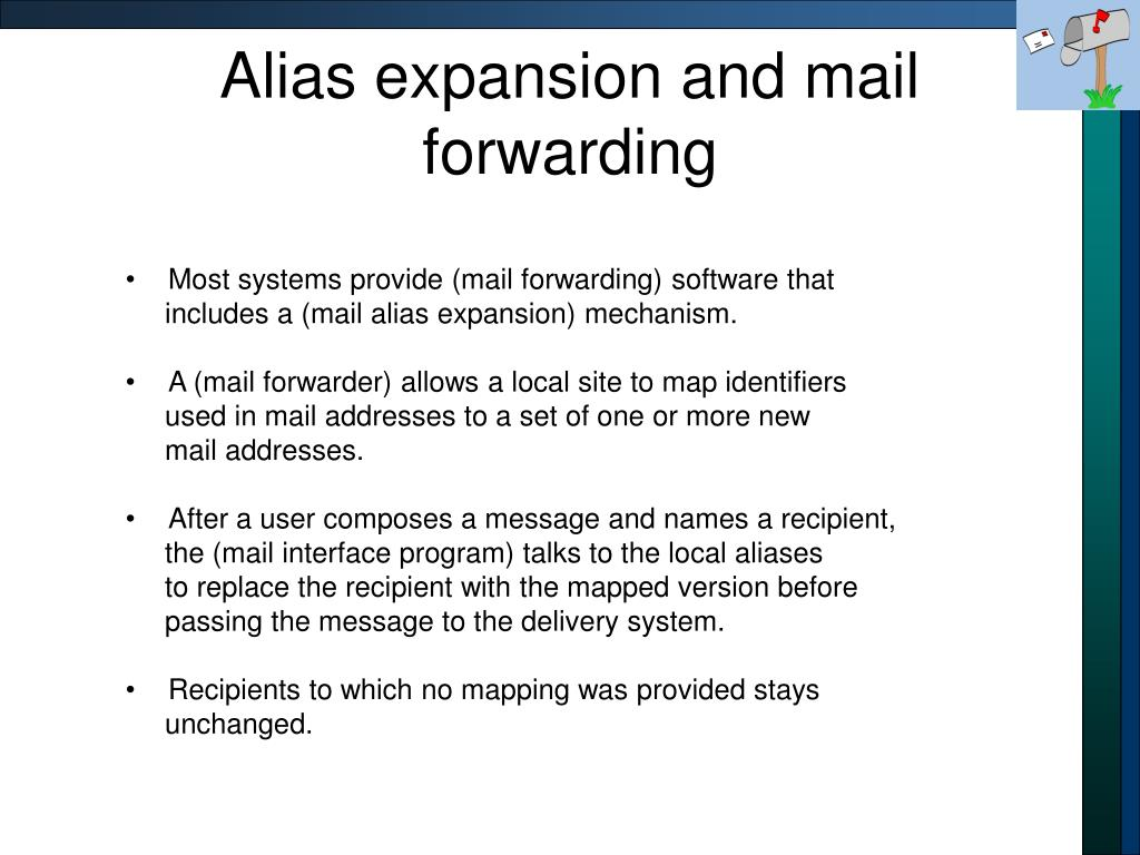 Alias expansion and mail forwarding