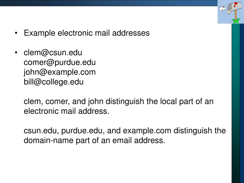 Example electronic mail addresses