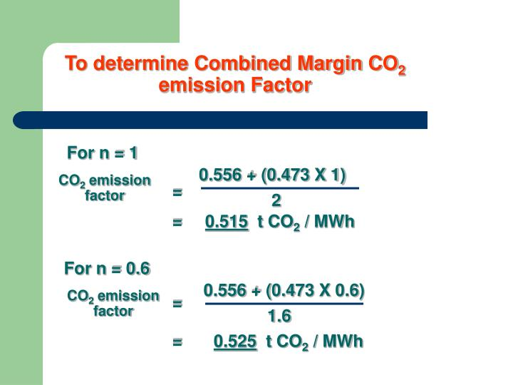 To determine Combined Margin CO