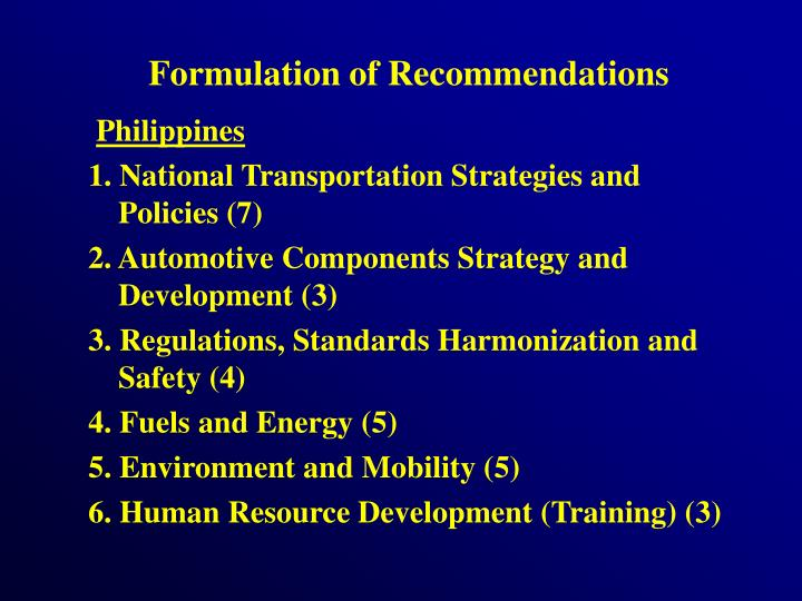 Formulation of Recommendations