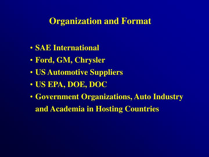 Organization and Format