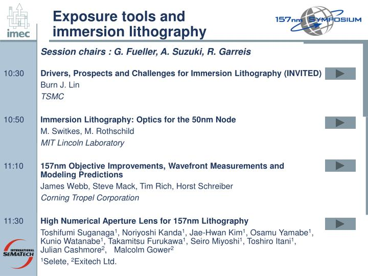 Exposure tools and