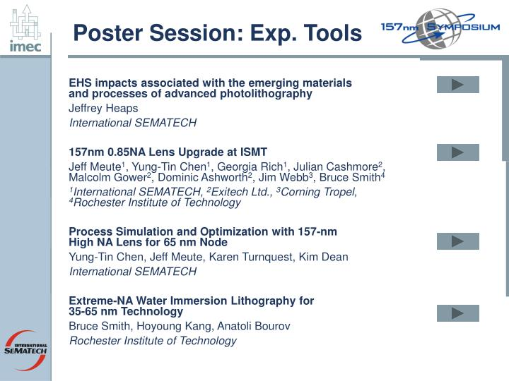 Poster Session: Exp. Tools