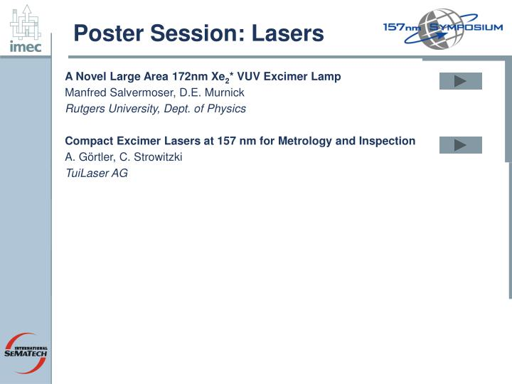 Poster Session: Lasers