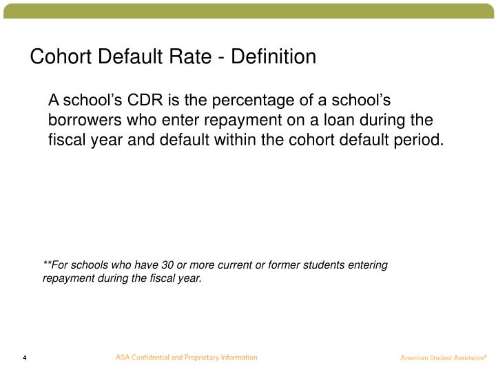 Cohort Default Rate - Definition