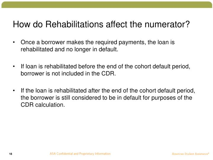 How do Rehabilitations affect the numerator?