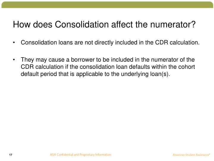 How does Consolidation affect the numerator?